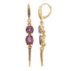 Simply Vera Vera Wang Purple Simulated Crystal & Stone Linear Spike Drop Earrings