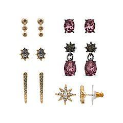 Simply Vera Vera Wang Gold & Jet Tone Purple & Grey Simulated Crystal & Stone Stud Earring Set