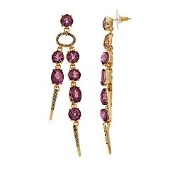 Simply Vera Vera Wang Gold Tone Purple Simulated Crystal Post Linear Drop Earrings