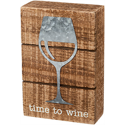 """""""Time To Wine"""" Box Sign Wall Decor"""