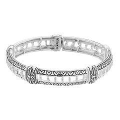 Napier Silver Tone Engraved Stretch Bracelet