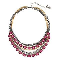 Simply Vera Vera Wang Gold & Jet Tone Pink Simulated Crystal Multi Strand Statement Necklace