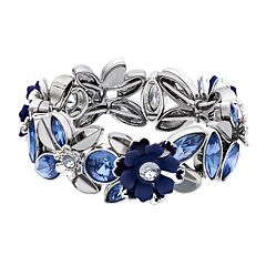 Simply Vera Vera Wang Blue Simulated Crystal & Stone Flower Motif Stretch Bracelet