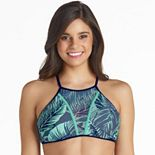 Mix and Match Mesh Inset High-Neck Bikini Top