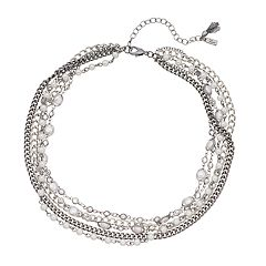Simply Vera Vera Wang Silver Tone Clear Bead Multi Strand Necklace