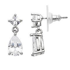 Simply Vera Vera Wang Silver Tone Cubic Zirconia Post Drop Earrings
