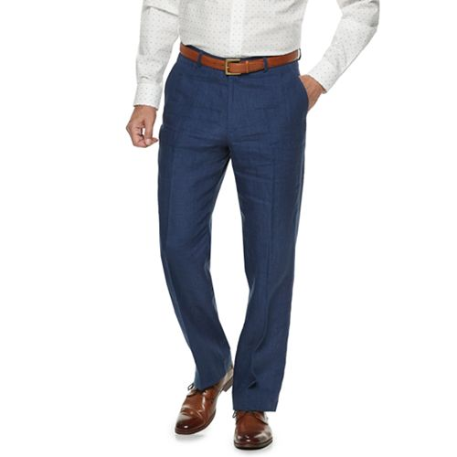 Men's Palm Beach Oxford Classic-Fit Linen Flat-Front Suit Pants