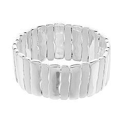 Dana Buchman Silver Tone Paneled Stretch Bracelet
