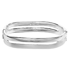 Dana Buchman Silver Tone Double Bangle Bracelet