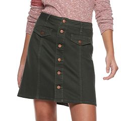 Juniors' Tinseltown Button Front Denim Mini Skirt
