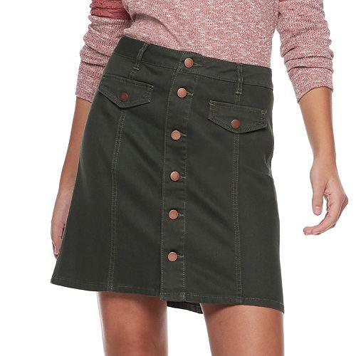 Juniors' Tinseltown Button Front Denim Mini Skirt