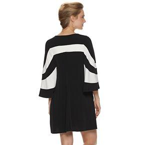 Women's Nina Leonard Colorblock Trapeze Dress