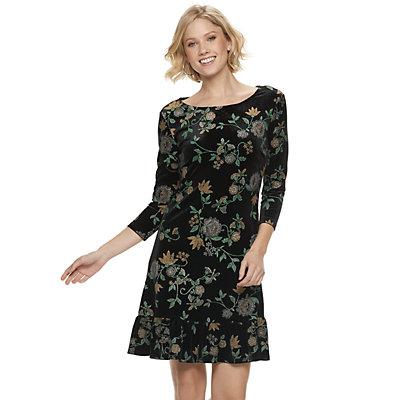 Women's Nina Leonard Velvet Sheath Dress
