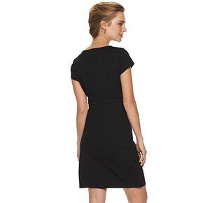Women's Nina Leonard Pieced Crepe Shift Dress