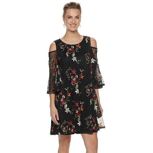 Women's Nina Leonard Floral Embroidered Cold-Shoulder Dress