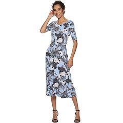 Women's Nina Leonard Floral Print Midi Dress