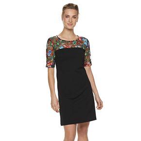 Women's Nina Leonard Embroidered Lace Sheath Dress