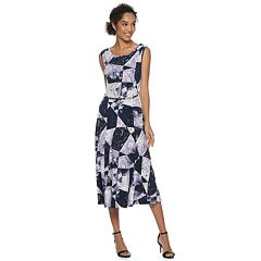 Women's Nina Leonard Geometric Print Crepe Midi Dress