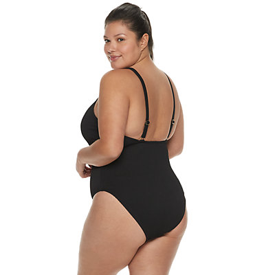 Plus Size Ribbed Cutout One-Piece Swimsuit