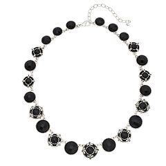 Napier Silver Tone Engraved Simulated Crystal Collar Statement Necklace