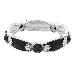 Napier Silver Tone Engraved Simulated Crystal Stretch Bracelet