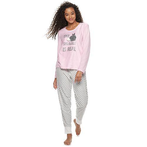 d650c8c358 Juniors  PJ Couture Microfleece Sleep Tee   Banded Bottom Sleep Pant Pajama  Set