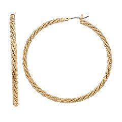 Napier Patterned Gold Tone Hoop Earrings