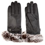 Women's Journee Collection Faux Fur Cuff Leather Gloves