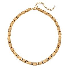 Napier Gold Tone Simulated Crystal Collar Necklace