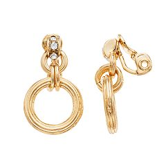 Napier Gold Tone Simulated Stone Small Drop Clip-On Earrings