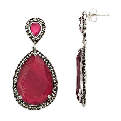 Lavish by TJM Sterling Silver Pink Mother-of-Pearl Doublet Drop Earrings