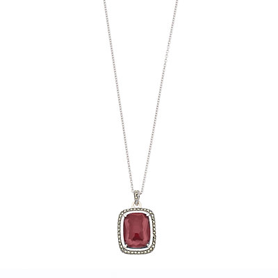 Lavish by TJM Sterling Silver Red Mother-of-Pearl Doublet Pendant Necklace