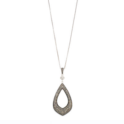 Lavish by TJM Sterling Silver Marcasite Pendant Necklace