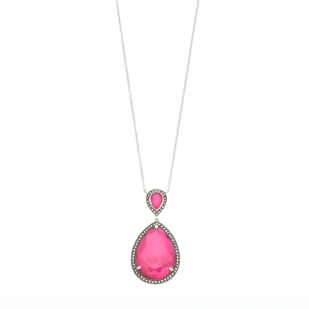 Lavish by TJM Sterling Silver Pink Mother-of-Pearl Doublet Pendant Necklace