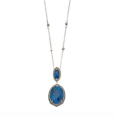 Lavish by TJM Sterling Silver Blue Abalone Doublet Pendant Necklace