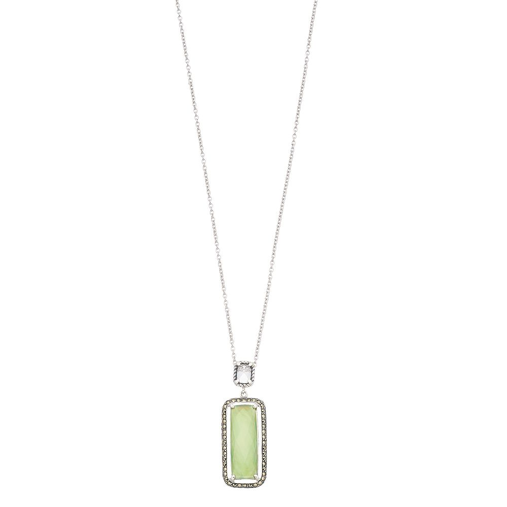 Lavish by TJM Sterling Silver Green Mother-of-Pearl Doublet Pendant