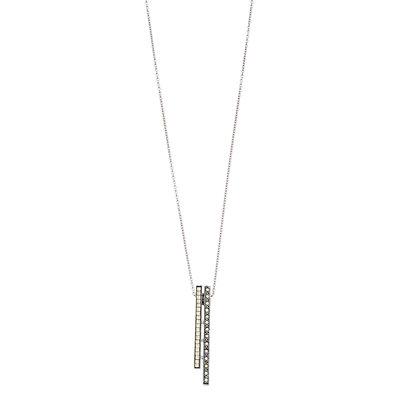 Lavish by TJM Sterling Silver Marcasite Stick Pendant Necklace