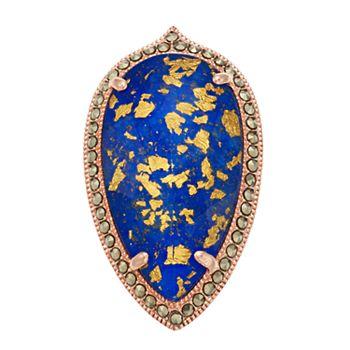 Lavish by TJM 18k Rose Gold Over Silver Lapis Lazuli & Gold Leaf Doublet Adjustable Ring