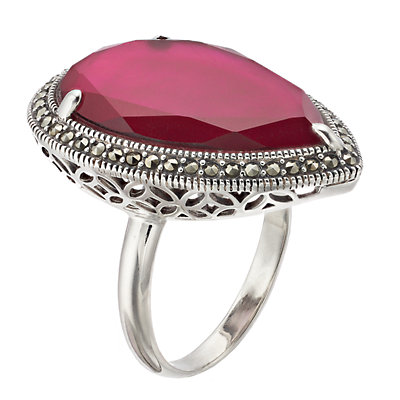 Lavish by TJM Sterling Silver Pink Mother of Pearl Doublet Adjustable Ring