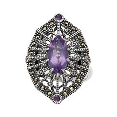 Lavish by TJM Sterling Silver Amethyst & Marcasite Adjustable Ring