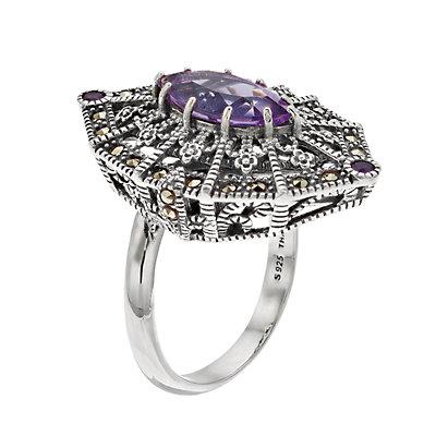 Lavish by TJM Sterling Silver Amethyst & Marcasite Adjustable Ring