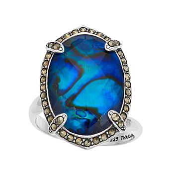 Lavish by TJM Sterling Silver Blue Abalone & Marcasite Doublet