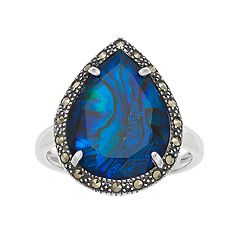 Lavish by TJM Sterling Silver Blue Abalone Doublet Ring