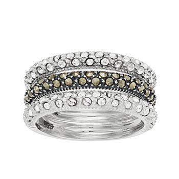 Lavish by TJM Sterling Silver Marcasite & Crystal 3-piece Stack Ring Set