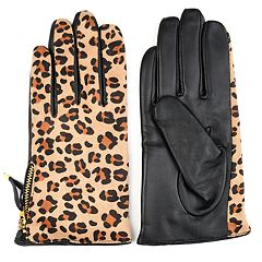Women's Journee Collection Leopard-Print Leather Gloves