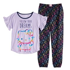 be0f76d4a Girls 4-16 Hello Kitty Top & Bottoms Pajama Set