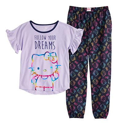 Girls 4-16 Hello Kitty Top & Bottoms Pajama Set