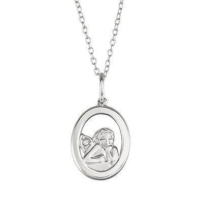 My Shield My Strength Sterling Silver Cubic Zirconia Angel Pendant