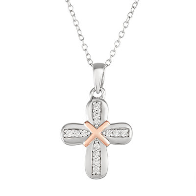 My Shield My Strength Sterling Silver Two Tone Cross Pendant