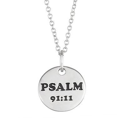 "My Shield My Strength Sterling Silver Angel ""Psalm 91:11"" Pendant"